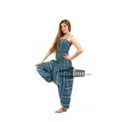 индийское платье с ярким принтом и длинными рукавами