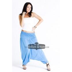 трикотажные индийские однотонные штаны алладины