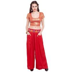 индийские штаны красные с вышивкой премиум хлопок