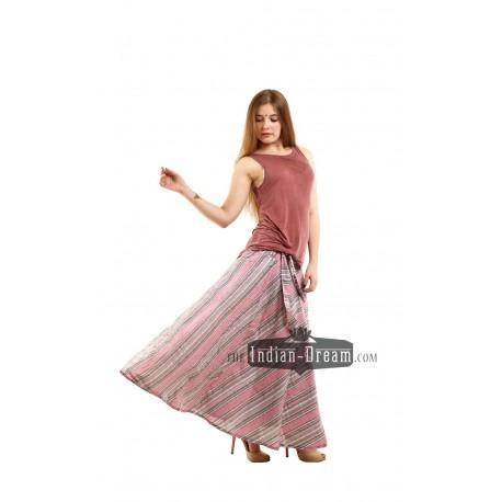 индийская полосатая длинная хлопковая юбка
