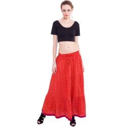 индийская длинная юбка ярко оранжевая премиум хлопок