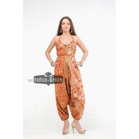 индийский комбинезон оранжевый шелковый микс