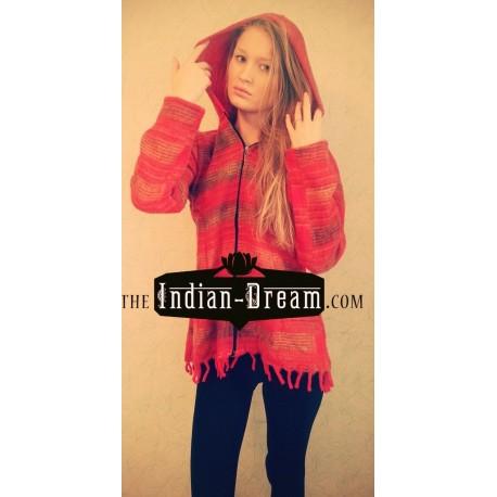 шерстяная индийская цветная кофта на молнии