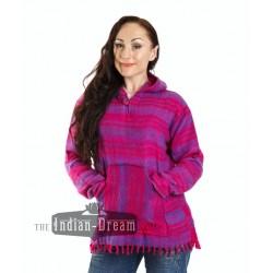 шерстяная индийская цветная кофта с карманом спереди