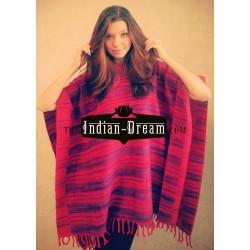 индийское цветное пончо шерсть с капюшоном