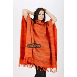 индийское пончо цветное с воротником шерсть