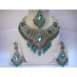 комплект индийских украшений голубой в серебре