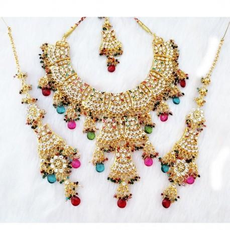 индийский комплект украшений разноцветный