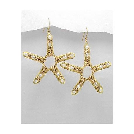 """крупные серьги """"звезды"""" латунь с кристаллами"""
