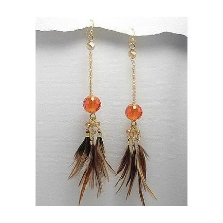 длинные этно серьги латунь с коричневыми перьями