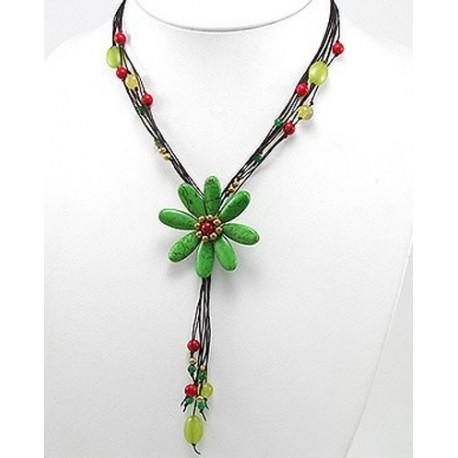 """ожерелье """"зеленый цветок"""" ручной работы"""
