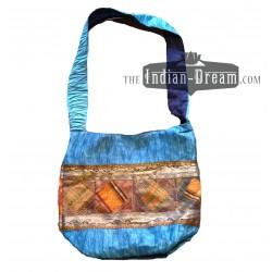 индийская сумка голубая дикий шелк