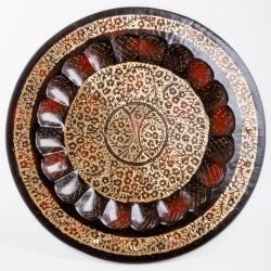 Тарелка настенная, 50 см, мелкие цветы, латунь, Индия