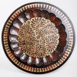 Тарелка настенная, 50 см, листочки, черно-золотая, латунь, Индия