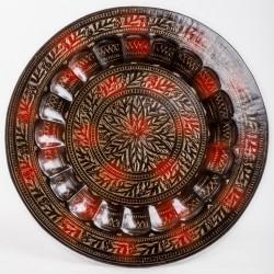 Тарелка настенная, 50 см, цветок, черно-золотая, латунь, Индия