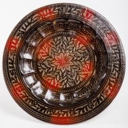 Тарелка настенная, 30 см, цветок, черно-золотая с красным (латунь)