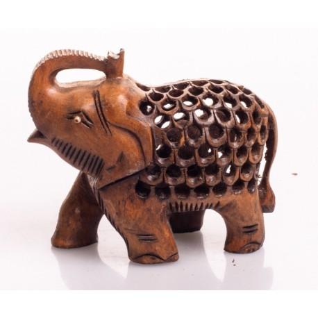 статуэтка Слон, 7см, сквозная резьба (темный орех), Индия