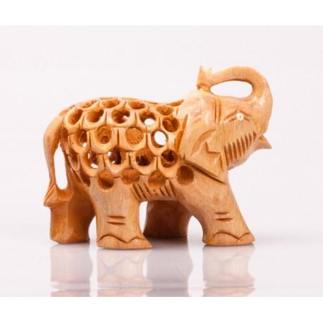 статуэтка Слон, 5см, сквозная резьба (светлый орех), Индия