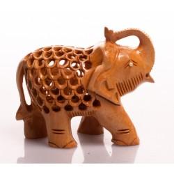 статуэтка Слон, 7,5см, сквозная резьба (орех), Индия