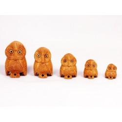 """статуэтки """"Семья сов"""", дерево (5 шт.), Индия"""