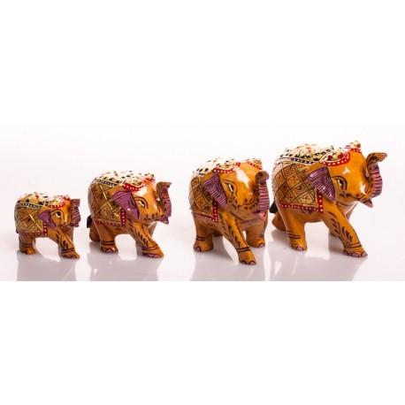 Набор слонов, роспись (орех), от 8 до 3,5 см, светло-коричневые, 4 шт, Индия