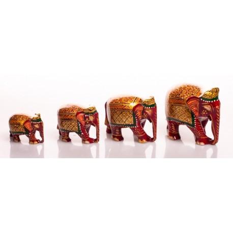 Набор слонов, роспись, 4 шт (орех), от 8 до 3,5 см, красная расцветка, Индия