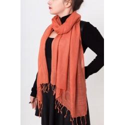 Шарф Однотонный, 70х200 см, хлопок 100%, Индия, оранжевый