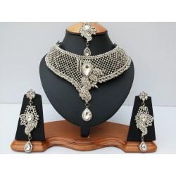 сет индийских украшений белый в серебре