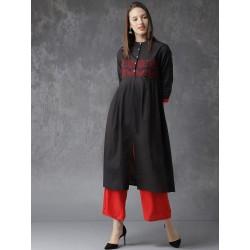 индийская туника черная с красной вышивкой, Anouk, размер S