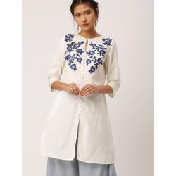 индийская туника белая с синей вышивкой XL размер