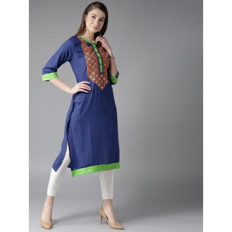 индийская туника синяя с вышивкой S размер