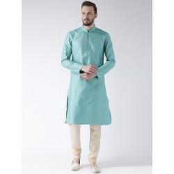 индийская мужская курта, шелк, голубой цвет, размер L