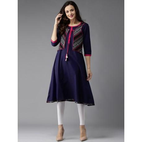 индийская туника (платье) синего цвета с жилеточкой, М размер
