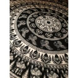 индийское покрывало простыня черно-белый принт, 210х240см