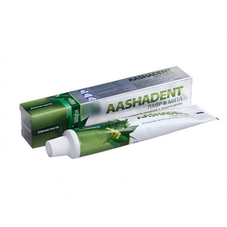 """индийская зубная паста """"Лавр и мята"""" Аашадент 100 гр"""