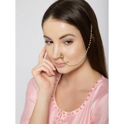 индийское украшение на нос - клипса с цепочкой к волосам