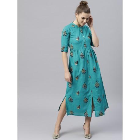 индийское платье с принтом павлины S размер