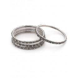 индийские браслеты под серебро с камнями