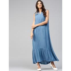 индийское длинное платье синего цвета с белой вышивкой S размер