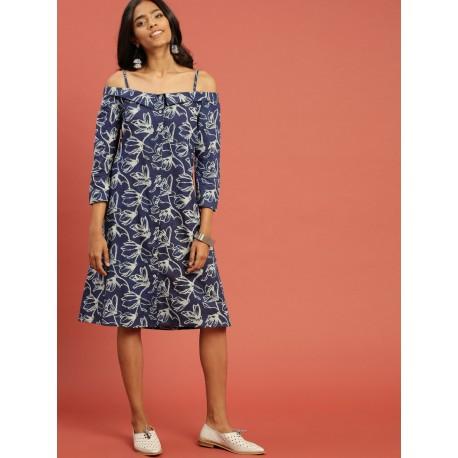 индийское синее платье с цветами, Taavi, L размер