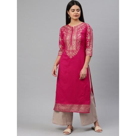 индийская туника розовая с принтом S размер