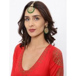 индийский комплект - тика и пара серег - зеленый цвет
