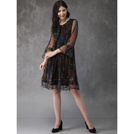 индийское мини платье черное с цветным рисунком