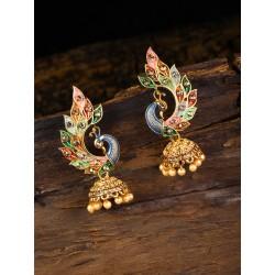 индийские серьги павлины цветные джумки