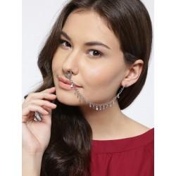 украшение на нос - кольцо с цепочкой с сережкой
