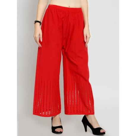 красные  хлопковые брюки с вышивкой чиканкари
