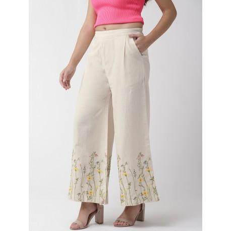 белые индийские брюки с вышивкой М размер