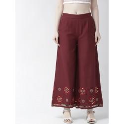 бордовые/черные индийские брюки с вышивкой М размер