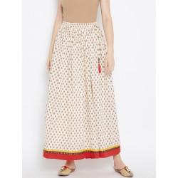 длинная кремовая индийская юбка с принтом L размера