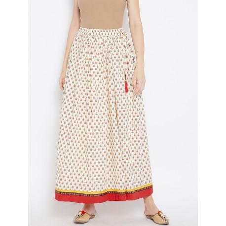 длинная кремовая индийская юбка с принтом М размера